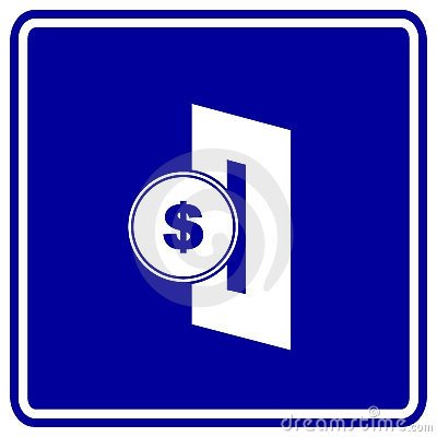 Insert coin in slot vector blue sign