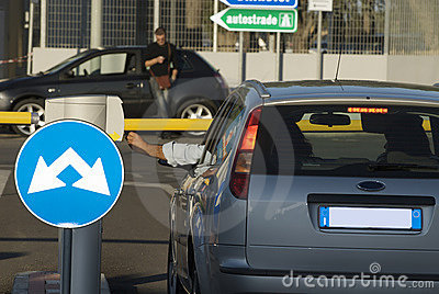 Inserting ticket for parking area