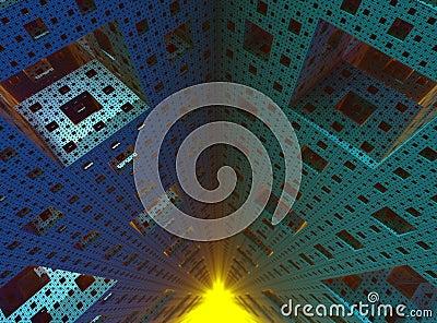 Inside a 3D Sierpinski sponge fractal object