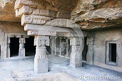 Inside of ancient Ellora Buddhist temple