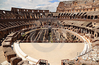 Inside arena in ancient Coliseum in Rome