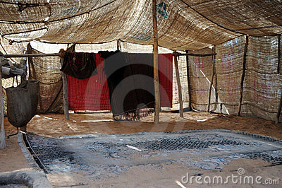 Inside of a bedouin tent