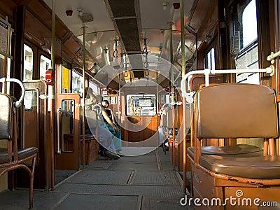 Inside budpest tram