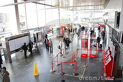 Inside busy train station terminal Editorial Stock Image