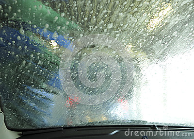 Inside the car wash