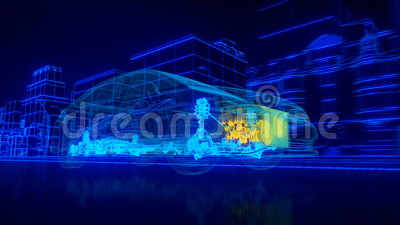 Inside the car - wire overview transmission, engine, suspension, wheels. Abstract 3D Car Animation wireframe 3d rendering