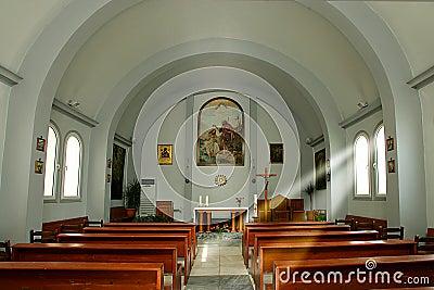 Inside of catholic church in Heraklion