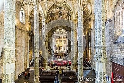 Inside the church Santa Maria in Belem, Lisbon, Portugal Editorial Photography