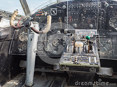 Inside The Cockpit Of A Vintage Small Jet Plane Stock