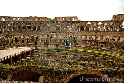 Inside of the coloseum in Rome
