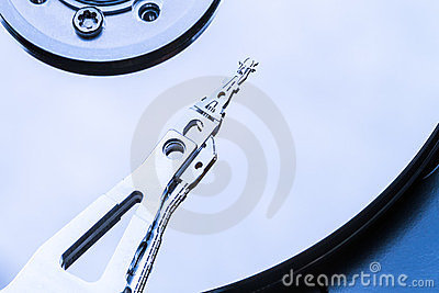 Inside computer hard drive disk