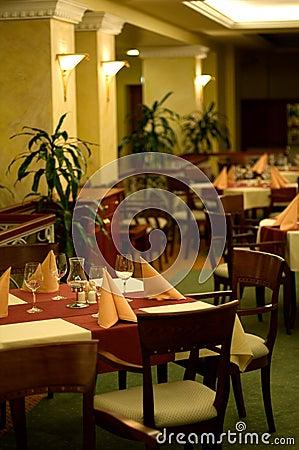 Inside elegant restaurant