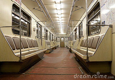 Inside of empty train in Moscow metro