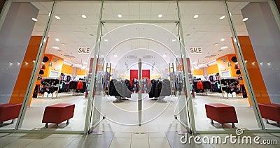 Inside fashion store of sport wear