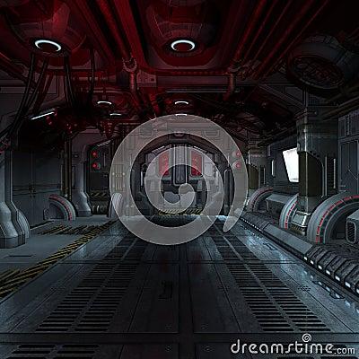 Inside a futuristic scifi spaceship 3D
