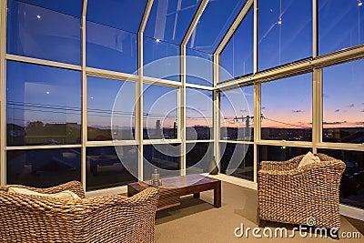 Inside glass sun room