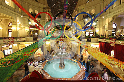 Inside GUM department store in Olympic rings on Editorial Stock Image