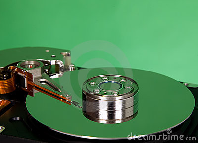 Inside of hard disc  on green background