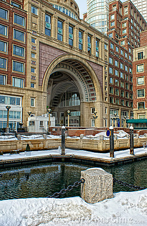 Inside historic rowes wharf in boston
