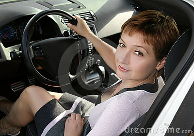 Inside interior of auto with woman