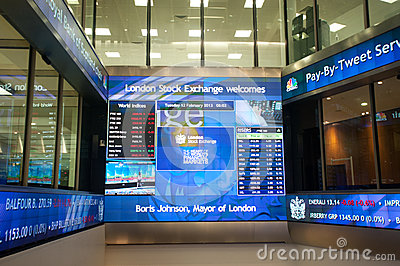 Inside the London Stock Exchange Editorial Stock Photo