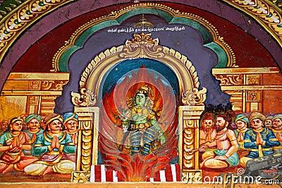 Inside of Meenakshi hindu temple in Madurai