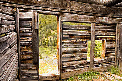 Inside of a Miner s Log Cabin