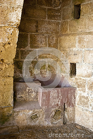 Inside the niches of ancient greek monastery