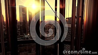 Inside nowożytny biznesowy budynek biurowy drapacza chmur miasta widok zdjęcie wideo
