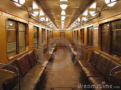 Inside of an old subway car