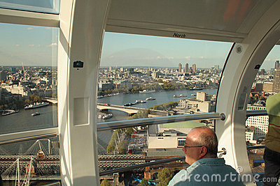 Inside one of the London Eye capsules Editorial Photo