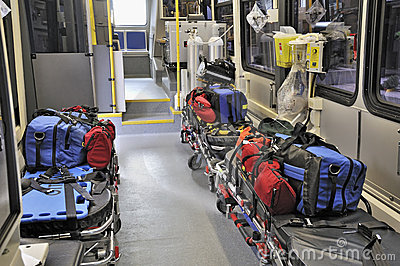 Inside a paramedic ambulance