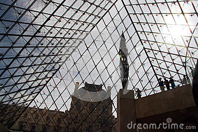 Inside the Pyramid of Louvre Editorial Stock Photo