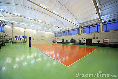 Inside school gym hall and volleyball net