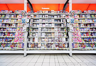 Inside shop of DVDs Editorial Stock Photo