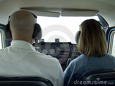 Inside small airplane cockpit