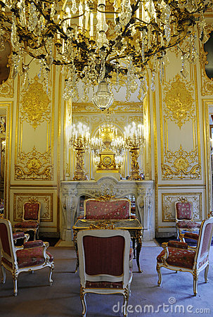 Inside Splendid royal palace with Fireplace