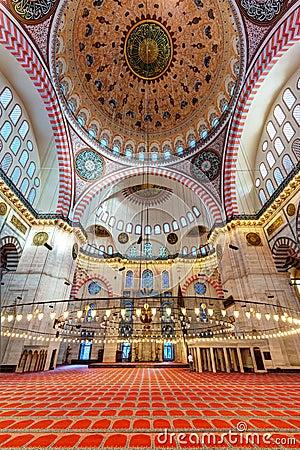 Inside the Suleymaniye Mosque in Istanbul, Turkey Editorial Photo
