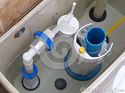 Inside a toilet cistern