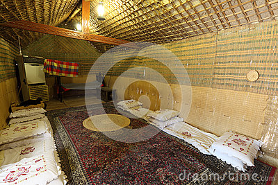 Inside of a traditional bedouin tent