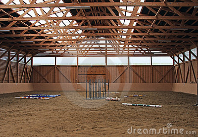 Inside of a training ground for horses