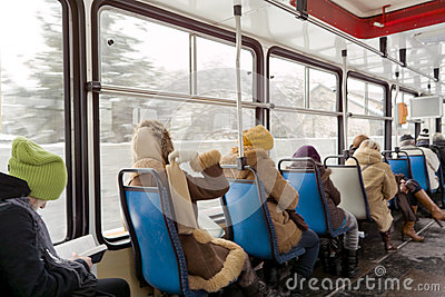 Inside tram. Editorial Stock Photo