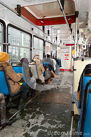 Inside tram. Editorial Stock Image