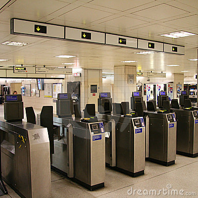 Inside view of the London underground Editorial Stock Photo