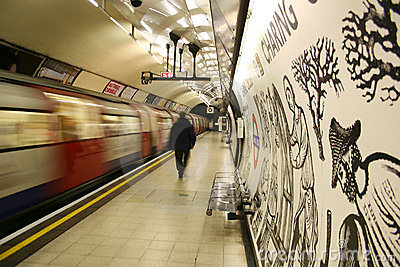 Inside view of the London underground Editorial Image
