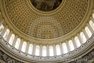 Inside view on the rotunda ceiling of US Capitol