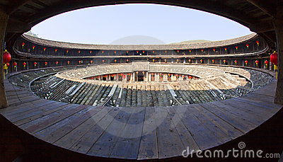 Inside view of the round Hakka earth building