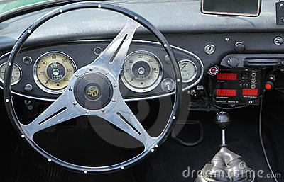 Inside vintage car Peugeot Editorial Stock Photo