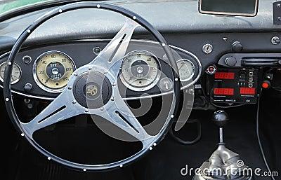Inside vintage car Peugeot Editorial Stock Photo