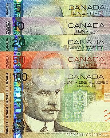 Insieme canadese corrente dei soldi di carta